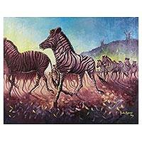 'Stampede at Sun' (2016) - Original Acrylic Painting of Wild Zebra Herd at Dawn