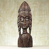 Wood sculpture, 'Dedicated Woman' - Sese Wood Hand Carved Female Bust Sculpture from Ghana