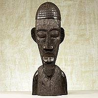 Wood sculpture, 'Shepherd' - Hand Crafted Wood and Aluminum Bust Sculpture