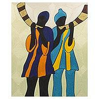 Silk wall art, 'Horn Blower' - Handcrafted Silk Wall Art of Two Horn Players from Ghana