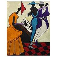 Silk wall art, 'The Power of Music' - Handcrafted Dance and Music Themed Silk Wall Art from Ghana