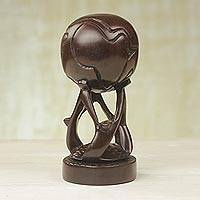 Wood sculpture, 'Global Community' (small) - Small Handmade African Rosewood Globe Sculpture from Ghana