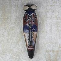 African wood mask, 'Serenity' - Hand-Carved Sese Wood African Mask in Dark Brown and Navy