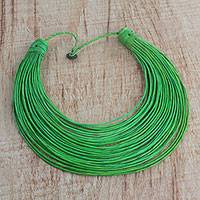 Leather statement necklace, 'Tumtumna' - Handmade Green Leather Strand Statement Necklace from Ghana