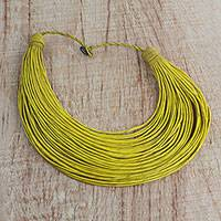 Leather statement necklace, 'Nooma' - Handmade Yellow Leather Strand Statement Necklace from Ghana
