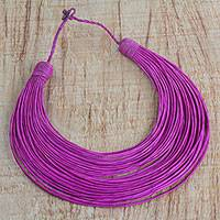 Leather statement necklace, 'Toongo' - Handmade Magenta Leather Strand Statement Necklace of Ghana