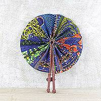 Cotton and leather hand fan,