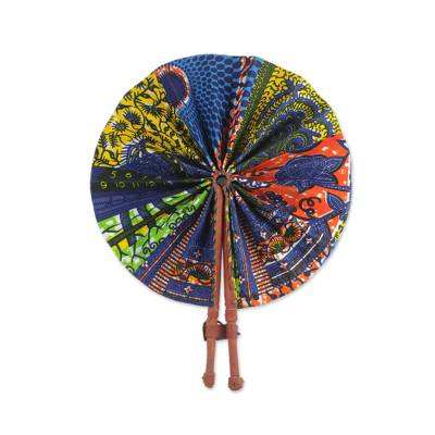 Handcrafted Multicolored Cotton and Leather Fan from Ghana
