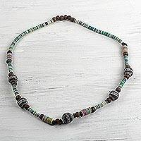 Terracotta, recycled plastic and wood beaded necklace, 'Odo Nti' - Handmade Multi-Colored Beaded Necklace from West Africa