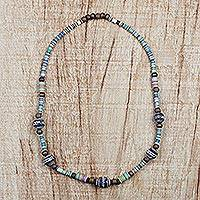 Terracotta beaded necklace, 'Blessed Child' - Multi-Colored Sese Wood Ceramic Recycled Beaded Necklace