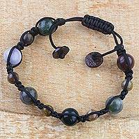 Tiger's eye and agate beaded bracelet, 'Lunar Night' - Handmade Tiger's Eye and Agate Beaded Bracelet from Ghana