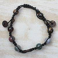 Tiger's eye and agate beaded bracelet, 'Sunset in Ghana' - Handmade Tiger's Eye and Agate Beaded Bracelet from Ghana