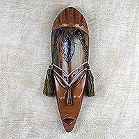 African wood mask, 'Sword of Confidence' - Sese Wood and Aluminum African Wall Mask