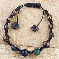 Tiger's eye and agate beaded bracelet, 'African Rain' - Handmade Tiger's Eye and Agate Beaded Bracelet from Ghana