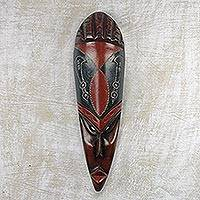 African wood mask, 'Sword of Strength' - Black and Dark Red African Wall Mask from Ghana