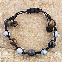Multi-gemstone beaded bracelet, 'Tranquil Nature' - Howlite, Tiger's Eye and Agate Beaded Bracelet from Ghana