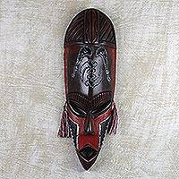 African wood mask, 'Sword of Protection' - African Wood Mask with Sword Motifs and Cotton Accents
