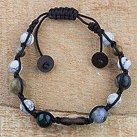 Multi-gemstone beaded bracelet, 'Lunar Cycle' - Howlite, Tiger's Eye and Agate Beaded Bracelet from Ghana