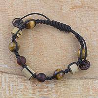 Tiger's eye beaded bracelet, 'Afternoon Warmth' - Handcrafted Tiger's Eye and Coconut Shell Beaded Bracelet