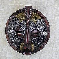 African wood mask, 'Round Mustachioed Man' - Round African Sese Wood and Metal Mask from Ghana