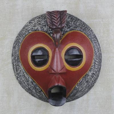African wood mask, 'Round Monkey Face' - Handcrafted African Sese Wood Monkey Mask from Ghana