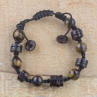 Tiger's eye beaded bracelet, 'African Sun' - Handcrafted Tiger's Eye Beaded Bracelet from Ghana