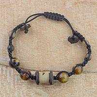 Tiger's eye beaded bracelet, 'Nature's Warmth' - Handcrafted Tiger's Eye and Coconut Shell Beaded Bracelet