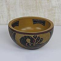 Wood and aluminum decorative bowl, 'Sankofa Trio' - Sese Wood and Aluminum Sankofa Decorative Bowl from Ghana
