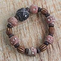 Wood and terracotta beaded stretch bracelet, 'Earthy Circle' - Hand Made Bracelet of Recycled Plastic Terracotta and Wood