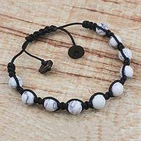 Howlite beaded bracelet, 'Fractured Skies' - Hand Crafted Howlite Beaded Bracelet from Ghana