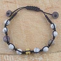 Howlite and agate beaded bracelet, 'Early Rains' - Hand Crafted Howlite and Agate Beaded Bracelet from Ghana