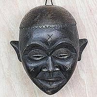 African wood mask, 'Chokwe' - Ghanaian Hand Crafted African Chokwe Sese Wood Mask