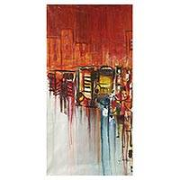 'Urban II' - West African Unstretched Acrylic Painting with Urban Theme