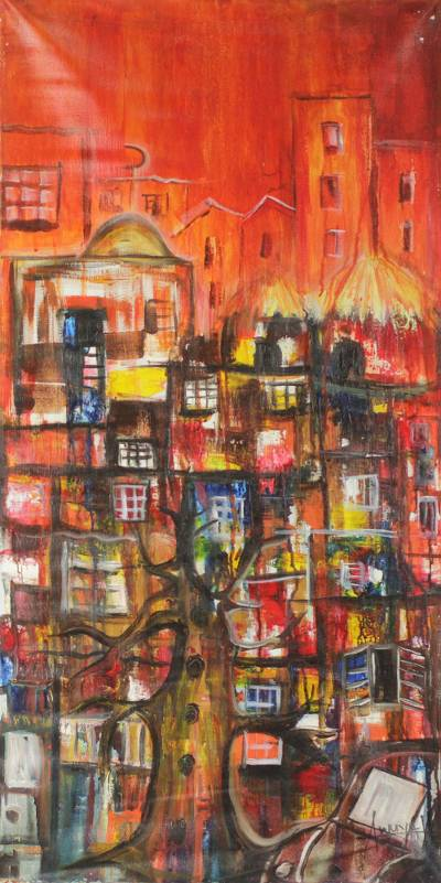 'Urban I' - Unstretched West African Urban Themed Acrylic Painting