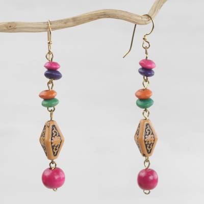 Wood and recycled plastic beaded dangle earrings, 'Joyful Morning' - Wood and Recycled Plastic Beaded Dangle Earrings from Ghana