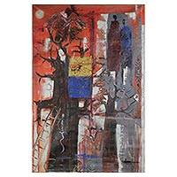 'New Day' - Original Signed Expressionist Painting from West Africa
