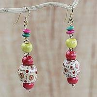 Wood beaded dangle earrings, 'Joyful Sunrise' - Handmade Colorful Wood Beaded Dangle Earrings from Ghana