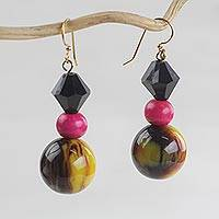Wood and recycled plastic beaded dangle earrings, 'Sweet Darling' - Wood and Recycled Plastic Beaded Dangle Earrings from Ghana