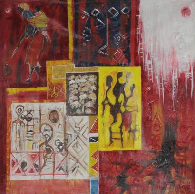 'African Vibe' - West African Themed Abstract Acrylic Painting