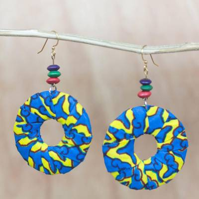 Cotton and wood hoop earrings, 'Vibrant Africa' - Blue and Yellow Cotton Hoop Dangle Earrings from West Africa