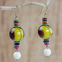 Wood and recycled plastic beaded dangle earrings, 'Vivid Celebration' - Wood and Recycled Plastic Beaded Dangle Earrings from Ghana