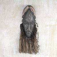 African wood mask, 'Simple Man' - Handcrafted African Alstonia Wood Wall Mask from Ghana