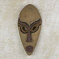 African wood mask, 'He is Coming' - Hand Carved and Painted African Wood Mask