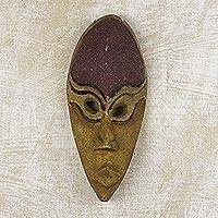 African wood mask, 'Next Step' - Textured African Wood Mask in Ochre and Plum Shades