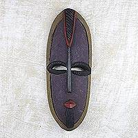 African wood mask, 'Mercy and Love' - African Mask Hand Carved from Wood in Ghana
