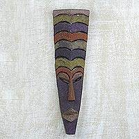 African wood mask, 'Create Happiness' - Multicolored Wood Mask Hand Carved in Ghana