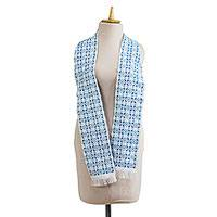 Cotton and rayon blend kente scarf, 'Cyan Hotsui' - Handwoven Cotton Blend Kente Scarf in Cyan from Ghana
