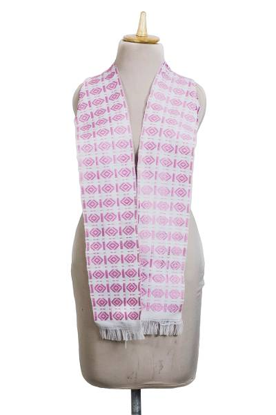 Cotton and rayon blend kente scarf, 'Carnation Hotsui' - Handwoven Cotton Blend Kente Scarf in Carnation from Ghana