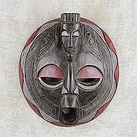 African wood mask, 'Akan Unity' - Authentic African Wood and Aluminum Wall Mask