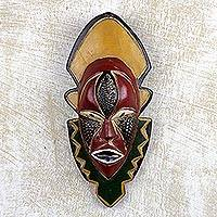 African wood mask, 'Narrow View' - Multicolored Handmade African Wood Mask from Ghana